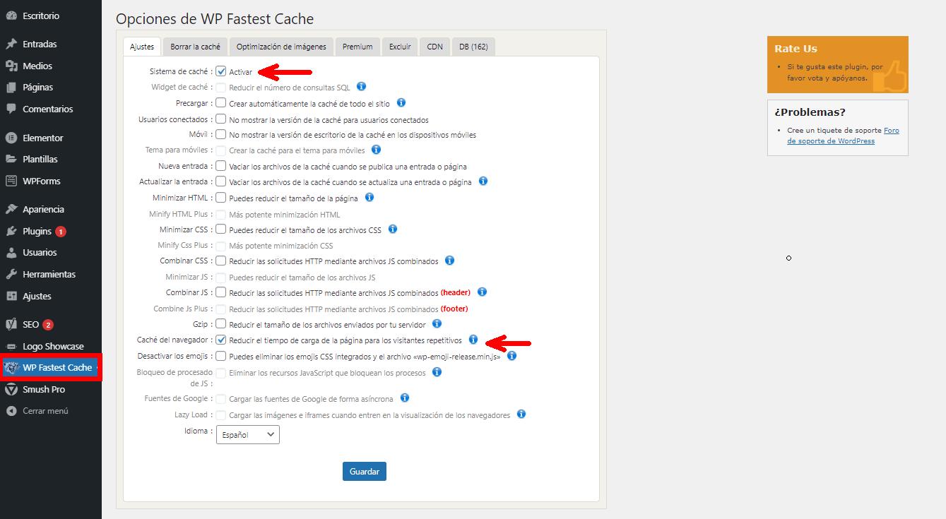 Activando cache en una web