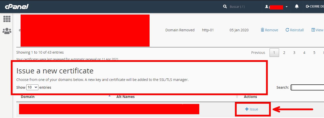 paso tres se instalación de ssl