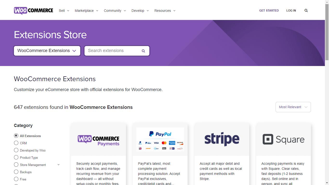 web oficial de extensiones de woocommerce